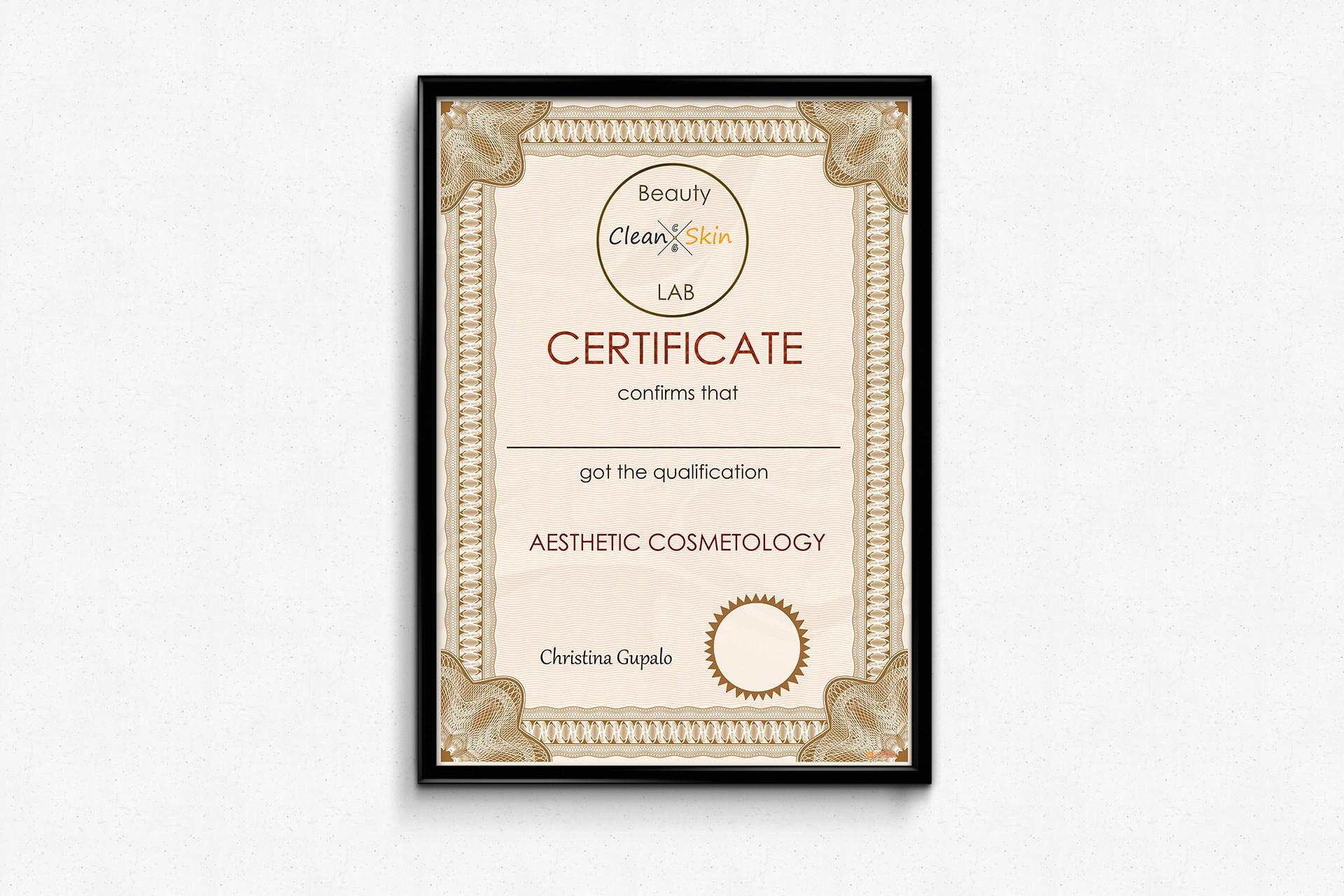 "Дизайн сертифікату для ""Beauty Clean Skin LAB"""